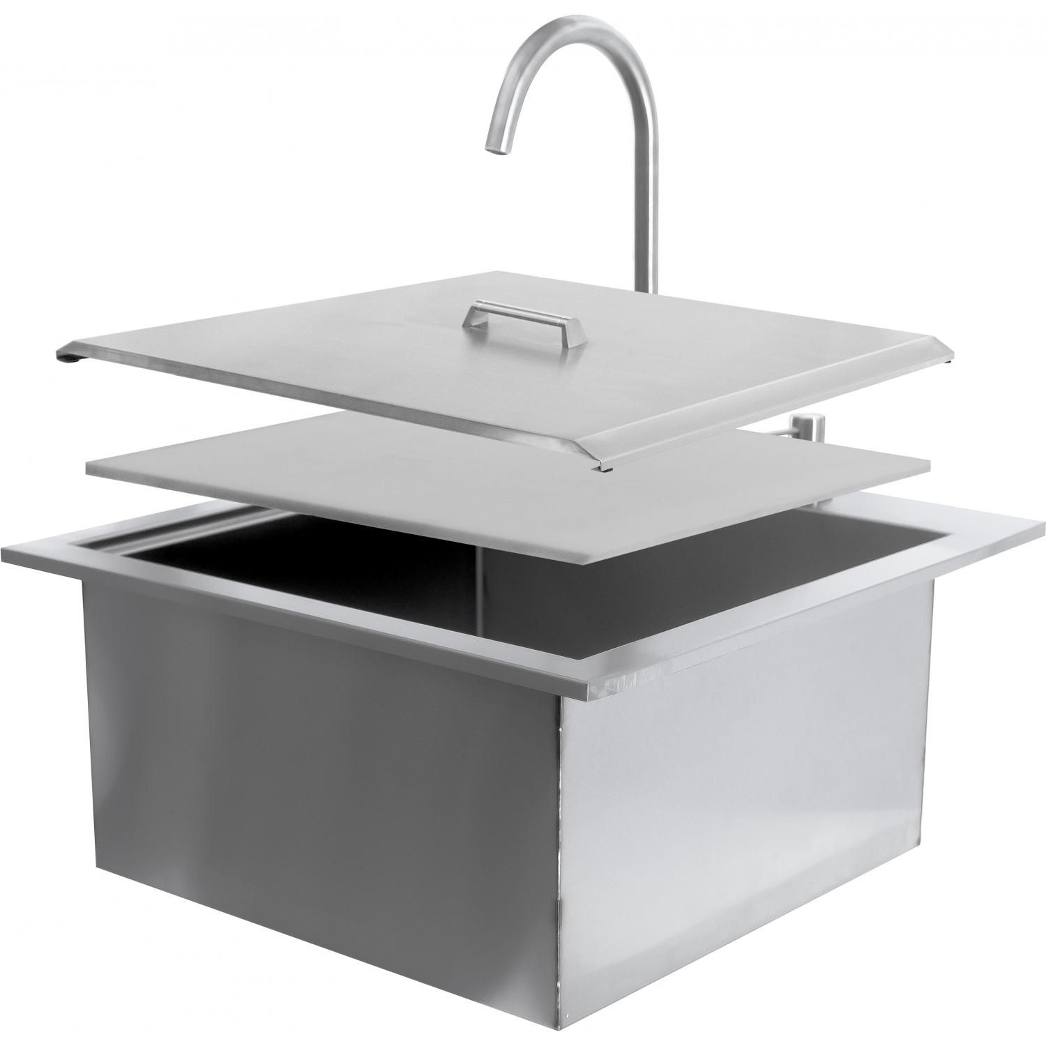 Bbqguys Sonoma 21 Outdoor Rated Stainless Steel Drop In Sink With Hot Cold Faucet Bbq 350h Sink 21 Sink Drop In Sink Faucet
