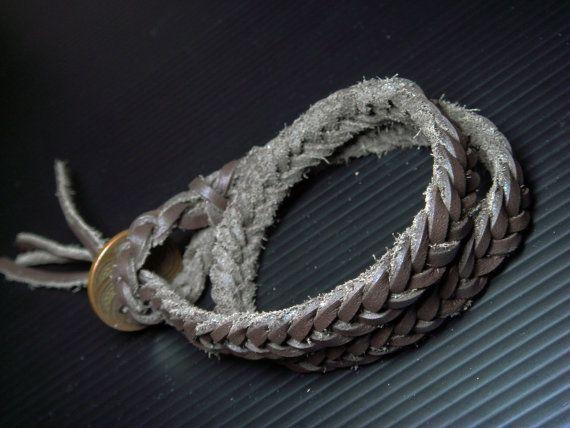 Dark Brown Leather braided bracelet Bronze coin from Thailand