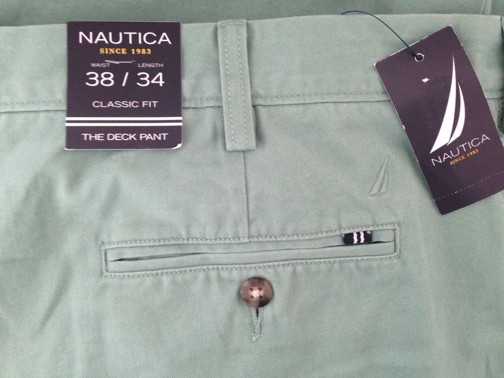 Nautica Deck Pant Classic Fit 38 x 34 Green #Nautica #DeckPantClassicFit #NauticaMen #NauitcaPants