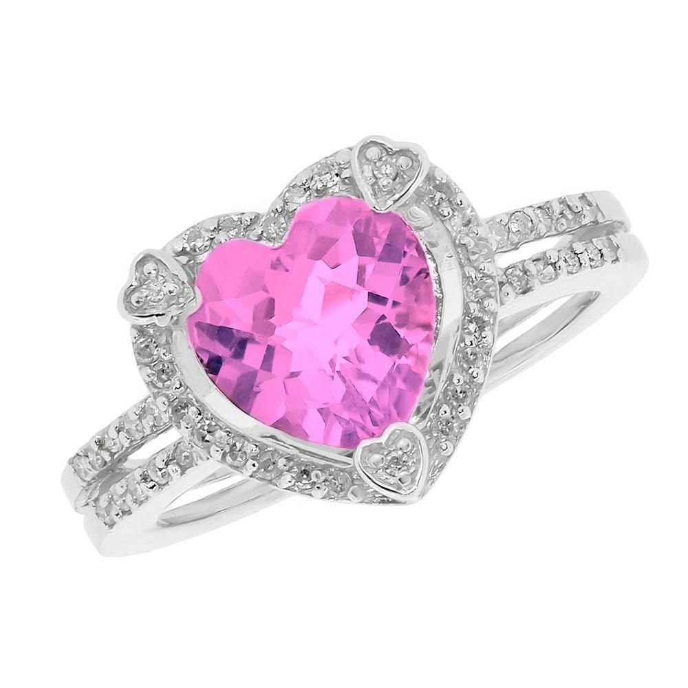 Pink Heart Diamond | Created Pink Sapphire and Diamond Heart ...