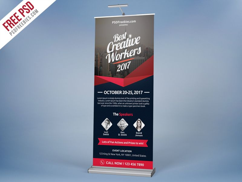 multi purpose event roll up template free psd psd print template