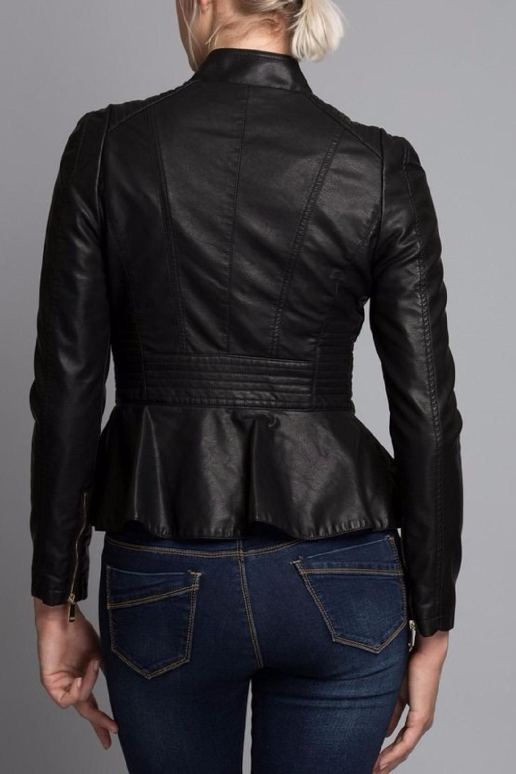 Peplum makes this jacket perfect to wear with skinny jeans or pencil skirt  Vegan Leather Jacket  by Coalition. Clothing - Jackets Coats & Blazers Chicago Illinois