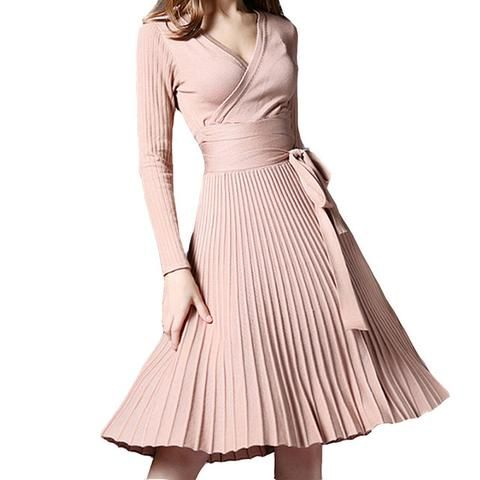 Fashion Women Dress Pleated Long Sleeve Casual Dress Bow