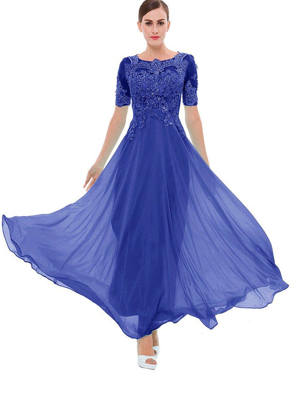 Sisjuly Women\'s Beaded Short Sleeves Lace Appliques Chiffon Long ...