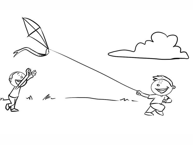 Ausmalbild Herbst: Jungen lassen einen Drachen steigen ...