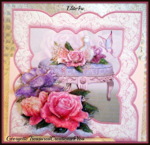 ELITE4U Georgette Easel Card Handmade Premade Paper Piecing – Pre Made Birthday Cards