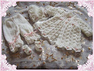 Emplumada Escudo Lacy Set 16-22 pulgadas muñeca / 0-3m baby-abrigo, gorro, zapatos, pantalones
