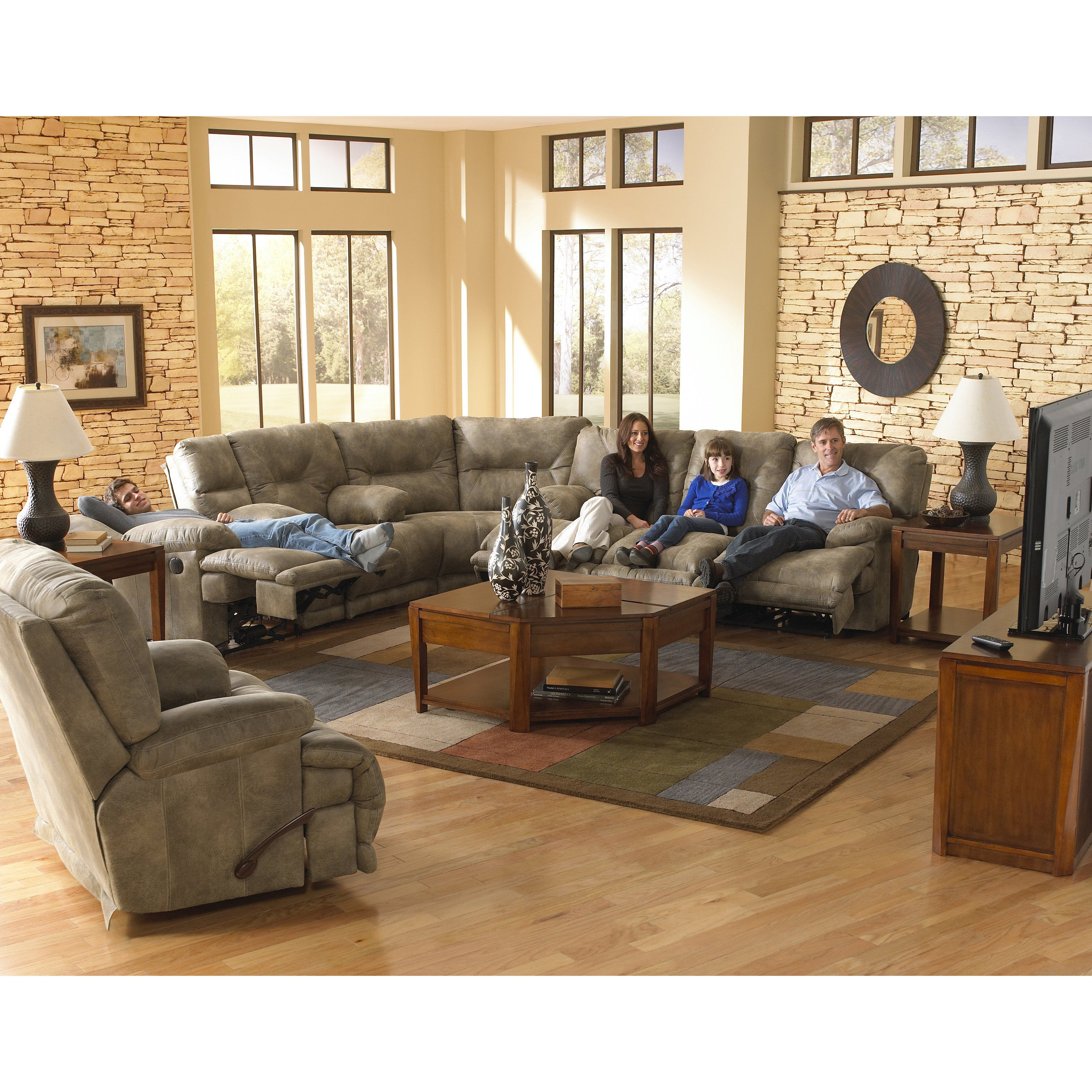 Catnapper Voyager Reclining Sectional Set Brandy Cat338 Sectional Living Room Sets
