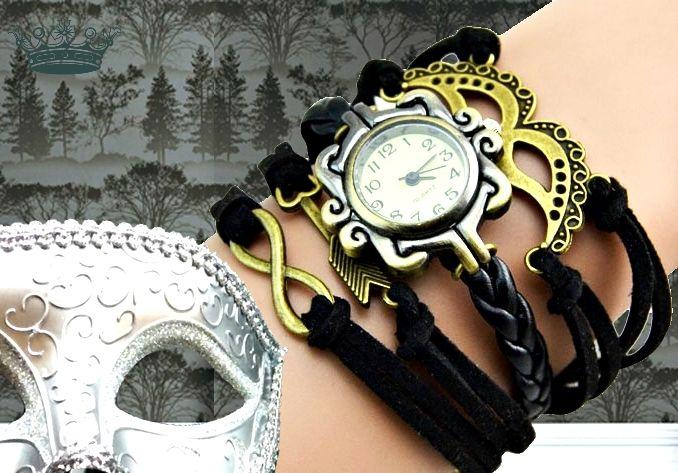 SHADES Armbanduhr Damenuhr Wickeluhr schwarz retro von Schloss Klunkerstein - Retro Uhren & Unikat Schmuck - selbst hergestellter Designerschmuck für außergewöhnliche Menschen. Naturschmuck, einzigartige Geschenke und antike Vintage Raritäten voller Geschichte! auf DaWanda.com