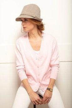 8f8a3385516 Le gilet femme manches longues rose. Pure laine vierge mérinos. Fabrication  française.