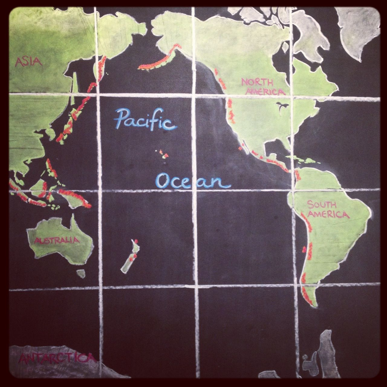 Waldorf ~ 6th grade ~ Geology & Mineralogy ~ The Ring of Fire ~ Map with Grid ~ chalkboard drawing