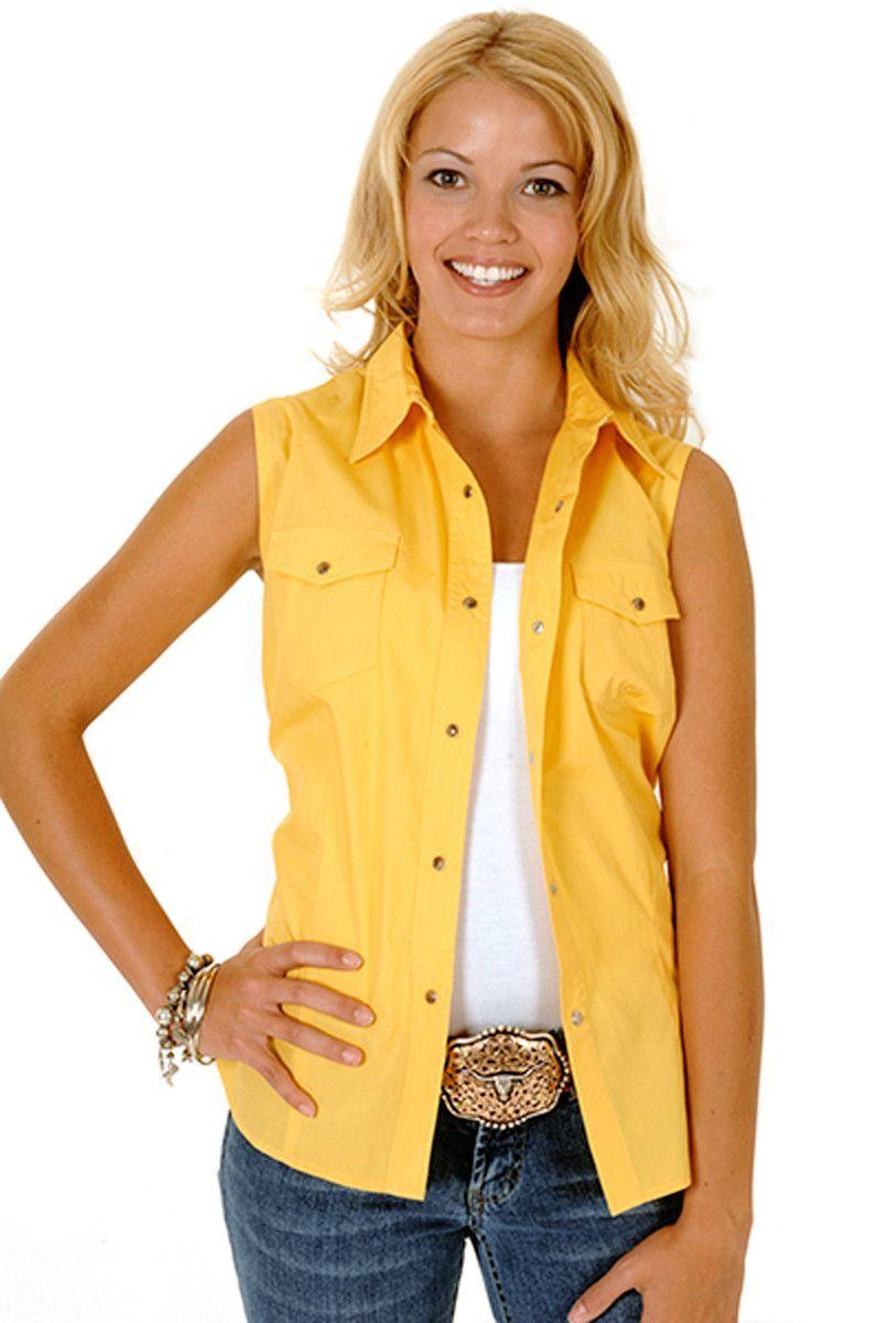 1395e9f1247f88 Roper Womens Yellow 100% Cotton Sleeveless Solid Poplin Snap Western Shirt