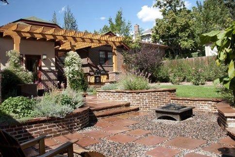 backyard firepit patio cover backyard landscaping arcadia design group centennial - Different Patio Designs