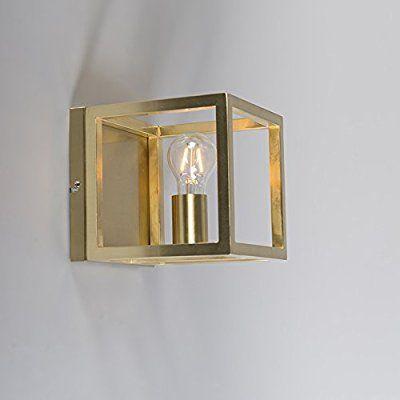 Außenleuchte Modern qazqa design modern wandleuchte cage 1 gold messing metall