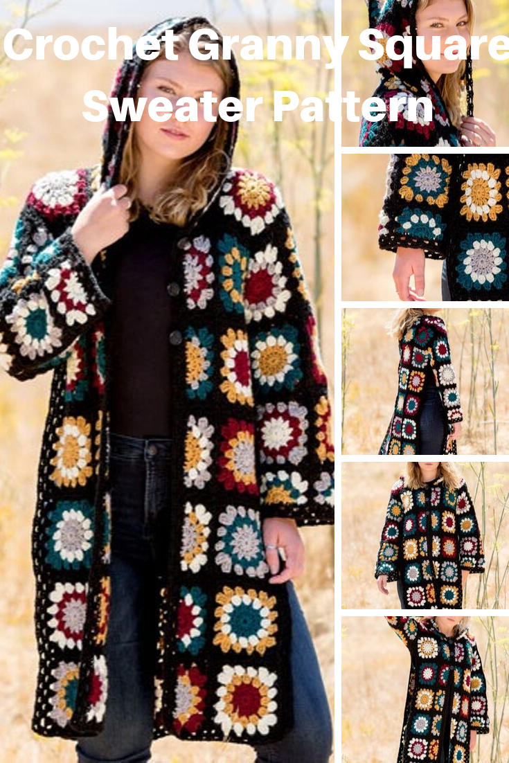 Here's an Easy to Crochet Granny Square Coat Sweater Pattern to Make