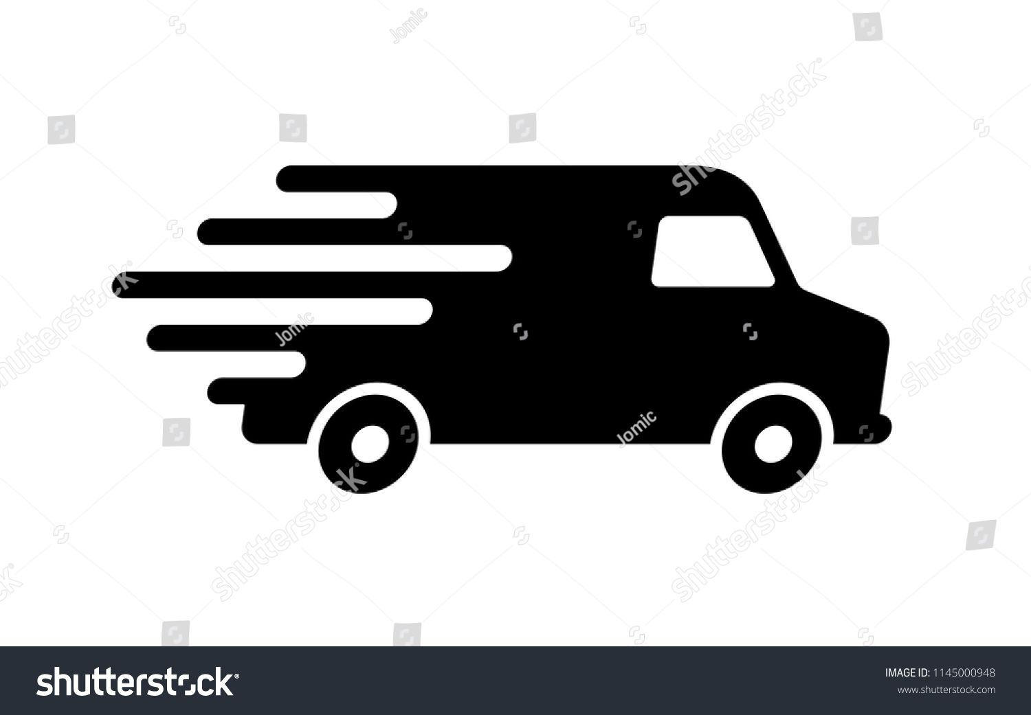Shipping Fast Delivery Van Icon Symbol Pictogram Flat Design For