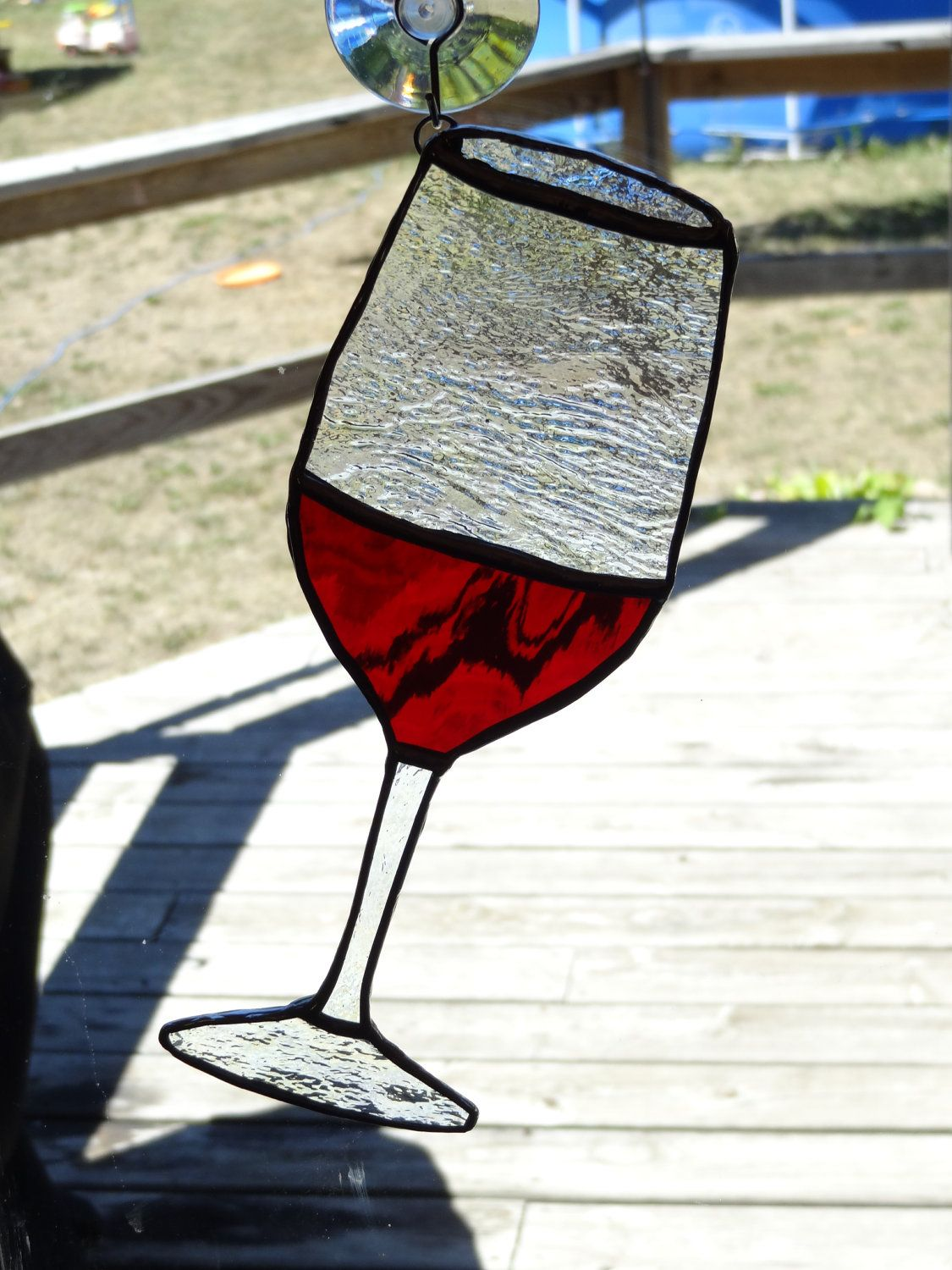 Stained Glass Red Wine glass Suncatcher by
