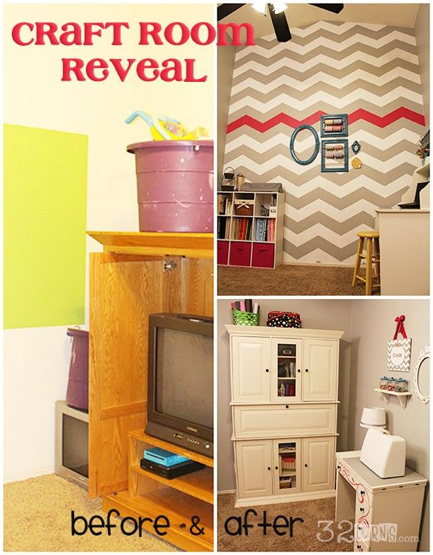 Craft Room Reveal at 32turns! Love the Chevron Wall! There is a video tutorial on how to paint your own.