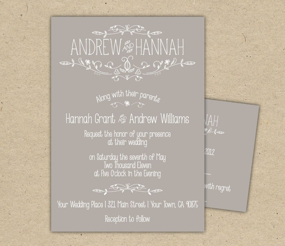 Vintage Wedding Invitation 3 piece set -Printable DIY. printed ...