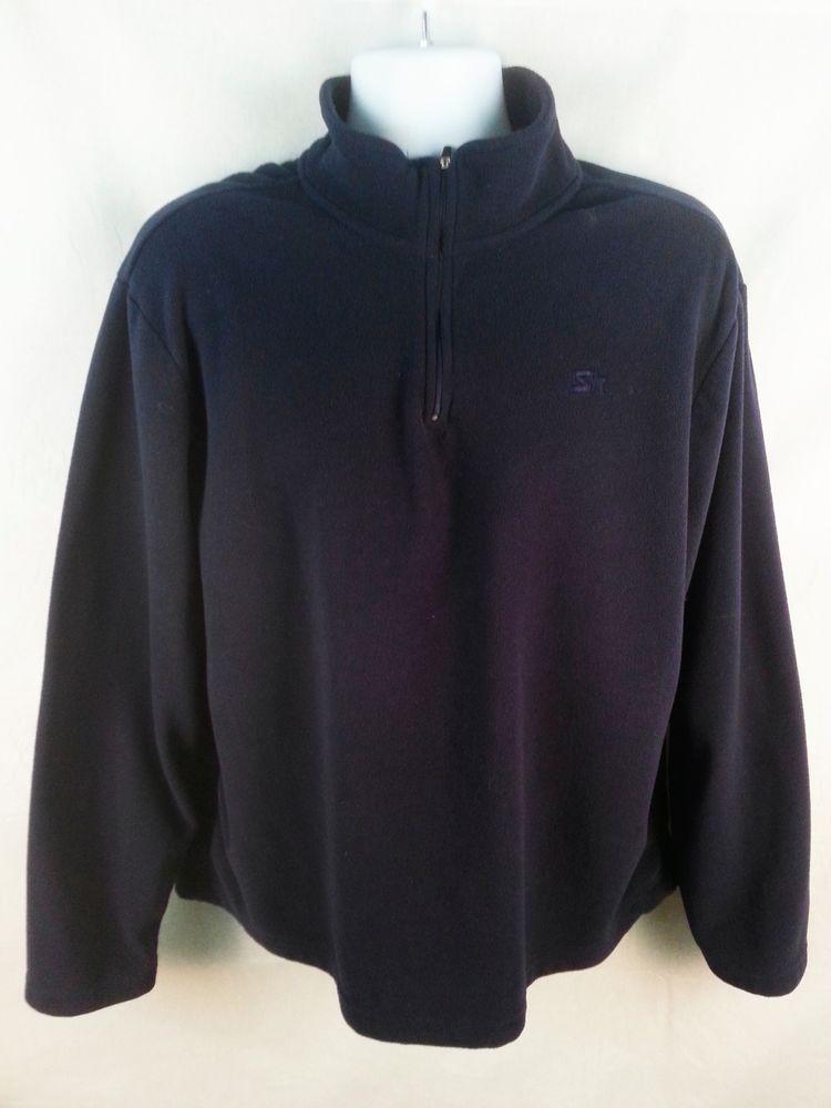 STARTER Mens 1 2 Zip Sweater size LARGE Fleece Pullover Navy Blue  Starter   12Zip a186d325e5