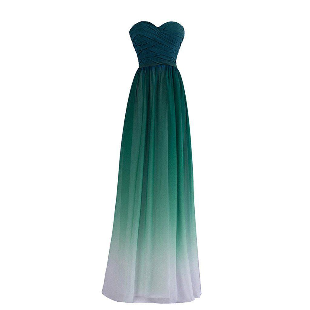 Womenus long gradient chiffon formal evening prom party dresses