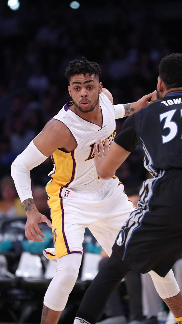 D Angelo Russell- Lakers won after his game winning shot Apr 9 2017