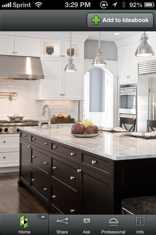 Kitchen Houzz Com Like The White Cabinets And The Black Island