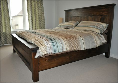 King Farmhouse Bed With 4x4 Posts Diybedframe Sypialnie Meble