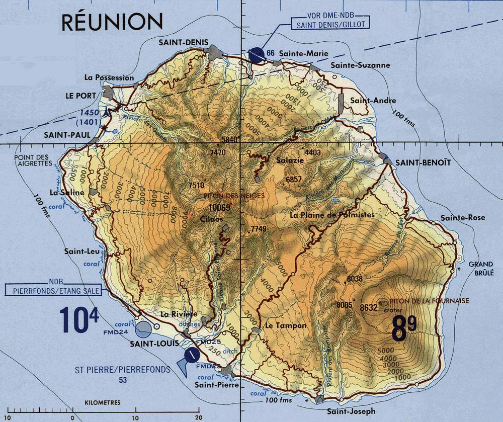 Carte De La Réunion Topographie Réunion My Island Carte De La