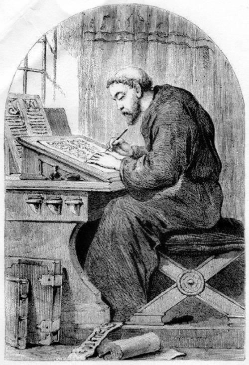 Illustration of monk writing | Personaggi, Immagini, Viaggio nel tempo