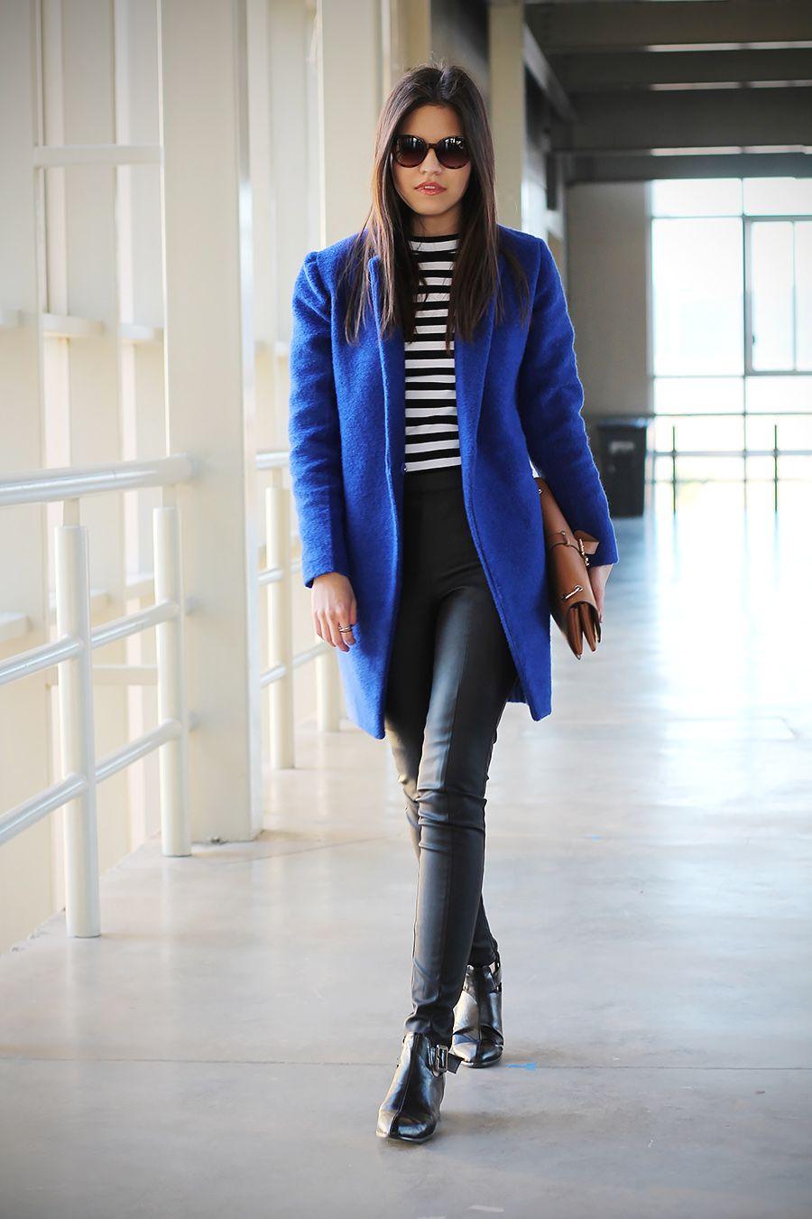 royal blue coat + leather pants + boots