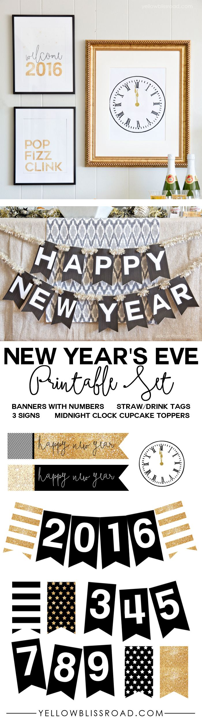 new years eve printable set with banners tags cupcake toppers and signs in black white and gold glitter