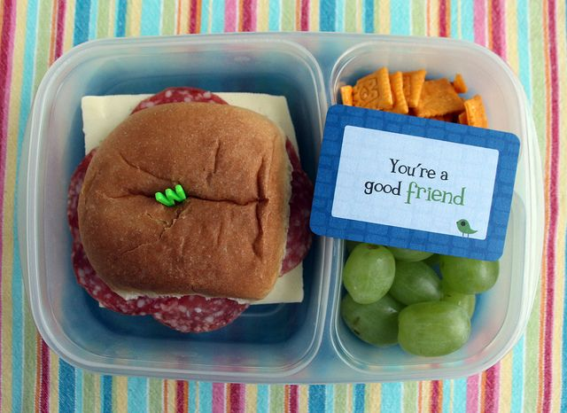 4th Grade Bento - salami and havarti sandwich