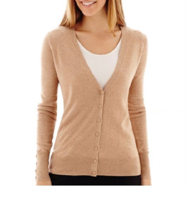 Worthington women's cardigan sweater long sleeve camel solid v ...