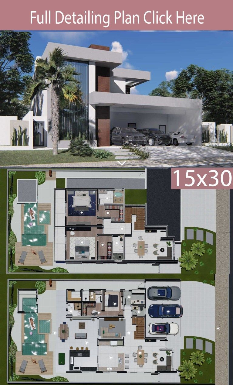 Home Design 15x30 Meters 3 Bedrooms Home Plans Architectural House Plans Modern House Design Model House Plan