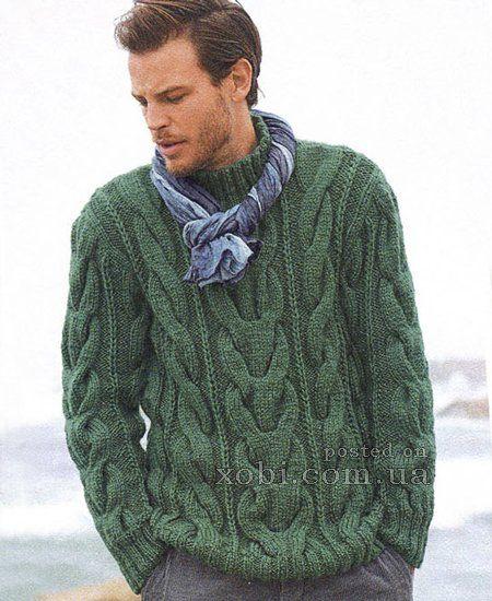 Мужской пуловер джемпер вязание спицами 572