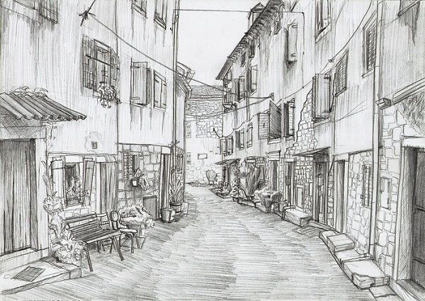 Historical street wallpaper is fully hand drawn pencil sketch on paper illustrating a city scape scanned to be fit on your desktop