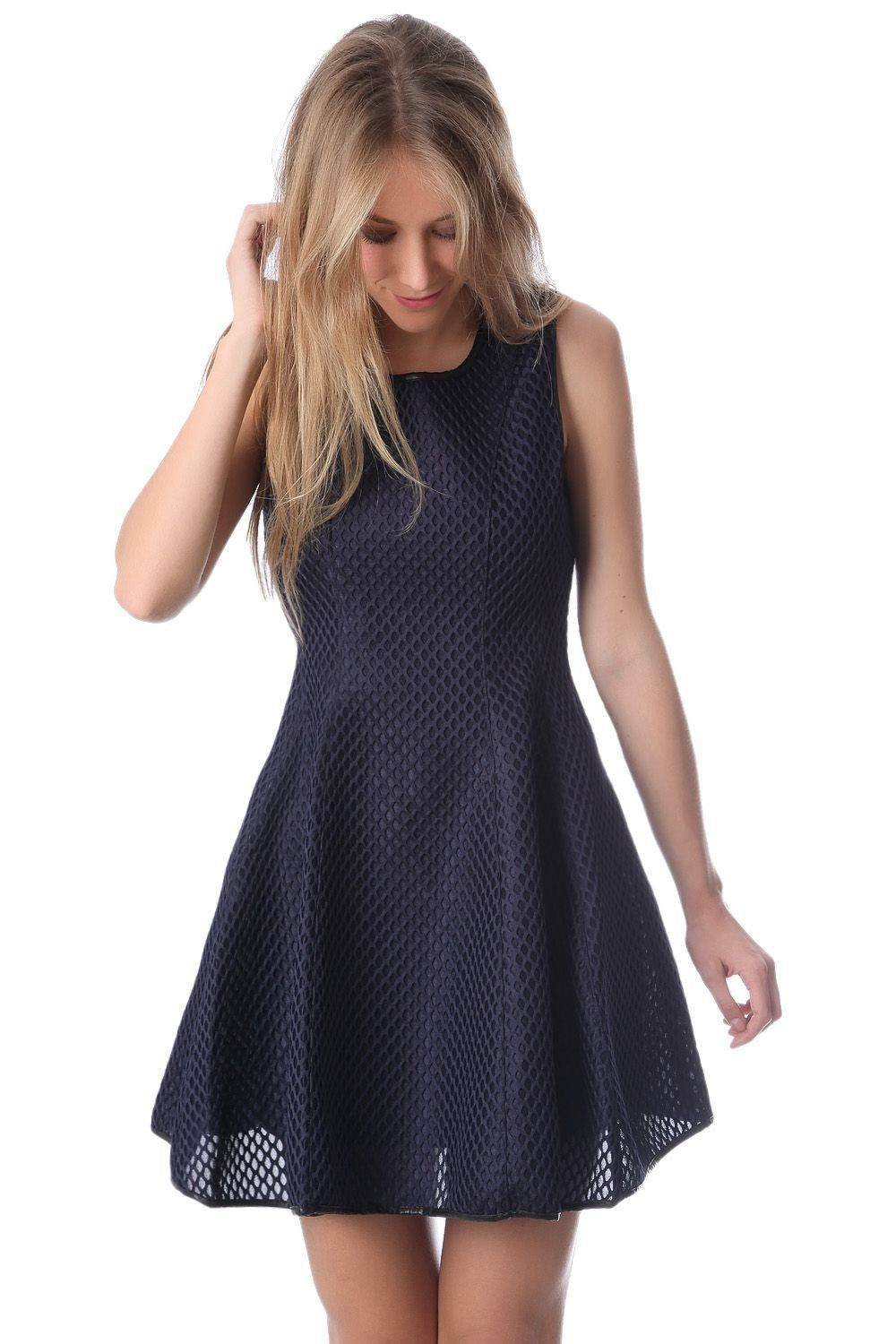 Q navy skater dress in cage mesh silk and threads pinterest