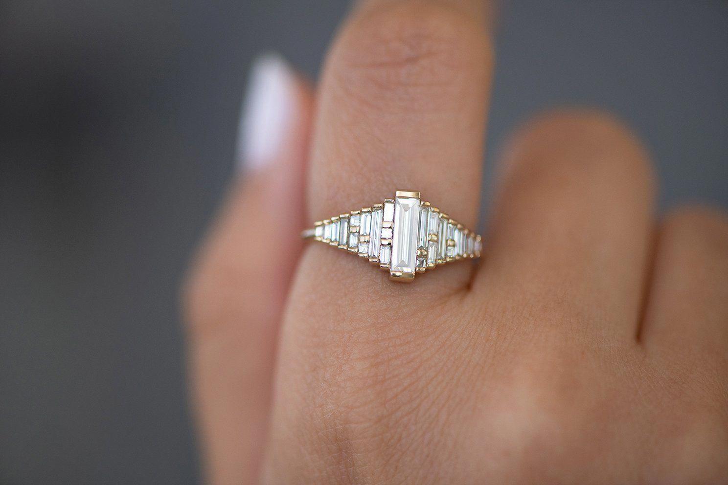 1.2ct Baguette Cut Diamond Engagement Ring 14k Yellow Gold Over Stylish Art Deco