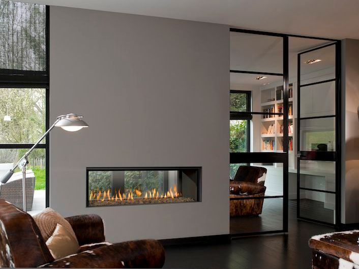 20 Functional Double Sided Fireplaces For Your Spacious Home Freestanding Fireplace Living Room With Fireplace Two Sided Fireplace