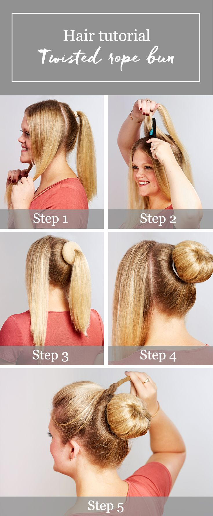 Step By Step Instructions For A Twisted Rope Bun Hairstyle This Easy Updo Hair Tutorial Walks You Through 5 Si Hair Styles Easy Hairstyles Easy Bun Hairstyles