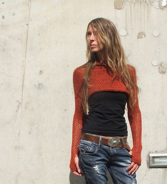 Red Cropped sweater / Red sweater / Rusty terracotta red / cropped sweater / pull over / women's clothing / tops and tees