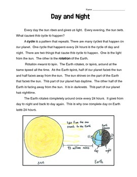 Day And Night Reading Comprehension Reading Comprehension Reading Passages Earth Science Activities