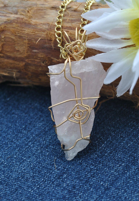 Clear Quartz /& Unakite Two Stone Raw Quartz Crystal Wrap Necklace with Chain