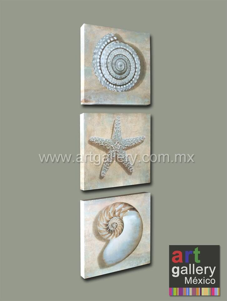 Juego de 3 obras en lienzo canvas de 30x30 cm cada una - Cuadros para el bano modernos ...