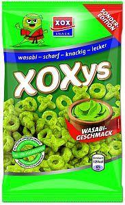 XOXys Wasabi. Pikante Xse und Os aus Mais und Erdnüssen.