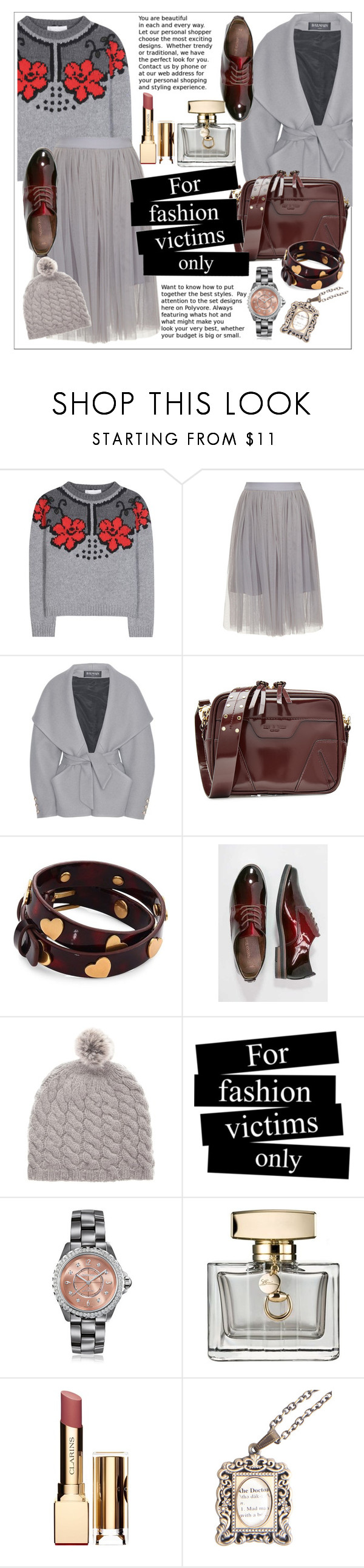 """""""Grey for fashion victims"""" by ceci-alva on Polyvore featuring STELLA McCARTNEY, Balmain, rag & bone, Tory Burch, Marco Tozzi, HENRY CHRIST, Chanel, Gucci and Clarins"""