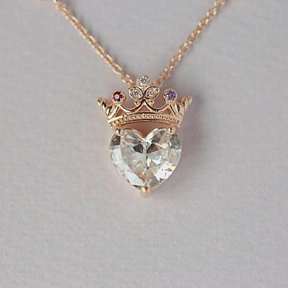 Collar de corazón de corona, collar de reina, collar colgante, collar de plata esterlina, collar de declaración, joyería, regalo para reina, regalo para ella