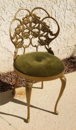 MCM Hollywood Regency Rose Metal Art Kessler Vanity Chair Beautiful Gold |  EBay