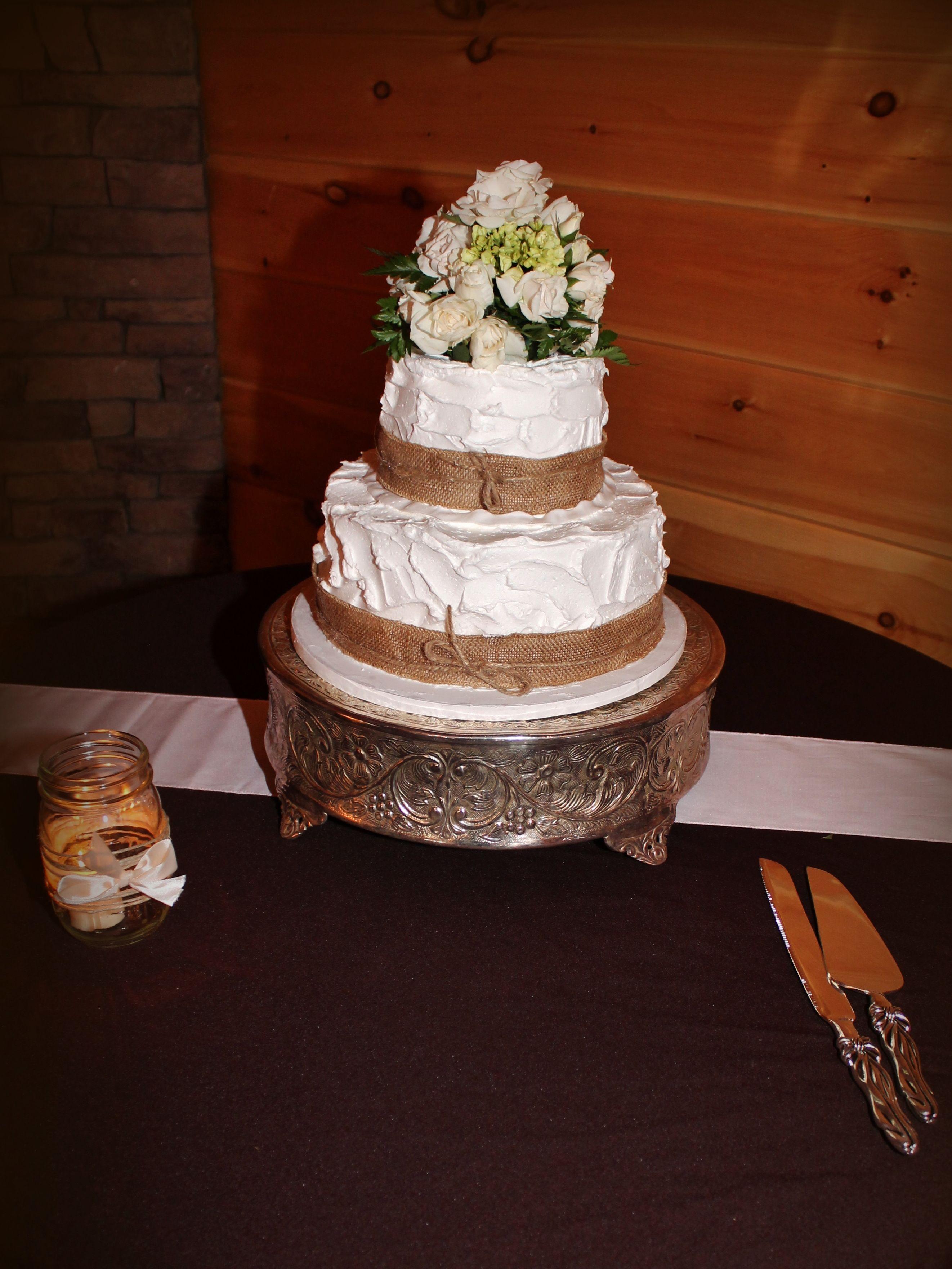 Rustic Country Wedding Cake Burlap Simple